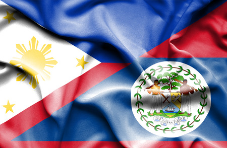 belize: Waving flag of Belize and Philippines