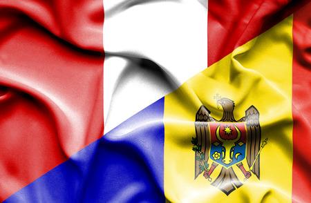 moldavia: Waving flag of Moldavia and Peru