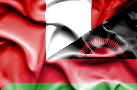 malawian flag: Waving flag of Malawi and Peru Stock Photo