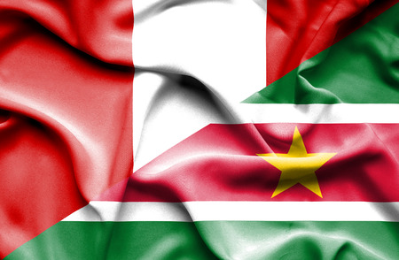suriname: Waving flag of Suriname and Peru