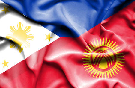 kyrgyzstan: Waving flag of Kyrgyzstan and Philippines