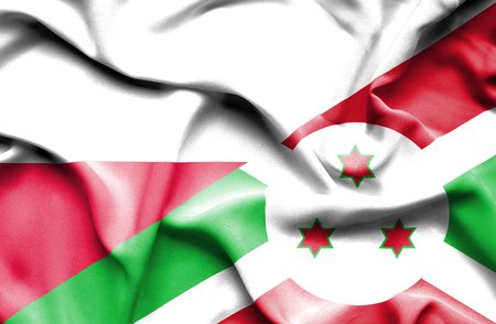 burundi: Waving flag of Burundi and Poland
