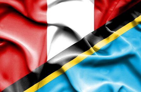 tanzania: Waving flag of Tanzania and Peru