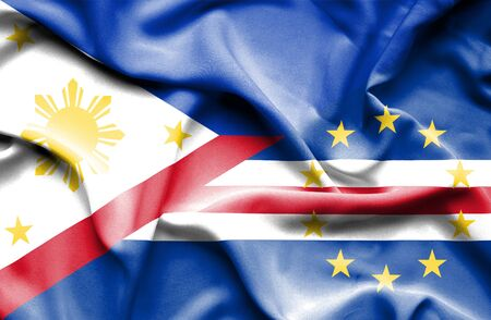 cape verde: Waving flag of Cape Verde and Philippines Stock Photo