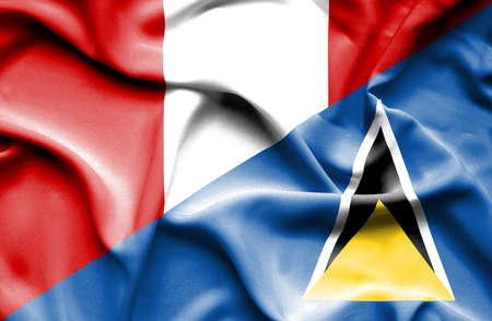st lucia: Waving flag of St Lucia and Peru