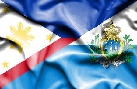 san marino: Waving flag of San Marino and Philippines
