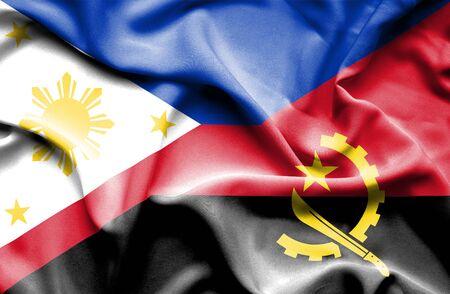 angola: Waving flag of Angola and Philippines