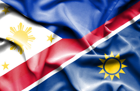 namibia: Waving flag of Namibia and Philippines Stock Photo