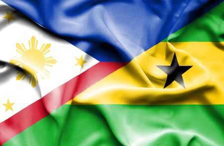 principe: Ondeando la bandera de Santo Tom� y Pr�ncipe y Filipinas