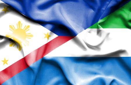 sierra: Waving flag of Sierra Leone and Philippines