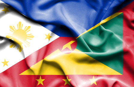 guernsey: Waving flag of Guernsey and Philippines