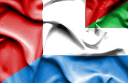 leone: Waving flag of Sierra Leone and Peru