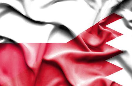 bahrain: Waving flag of Bahrain and Poland