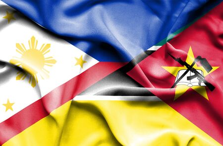 mozambique: Waving flag of Mozambique and Philippines