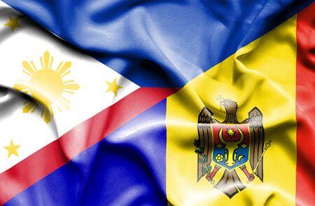 moldavia: Waving flag of Moldavia and Philippines