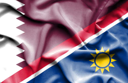 namibia: Waving flag of Namibia and Qatar