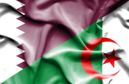 algeria: Waving flag of Algeria and Qatar