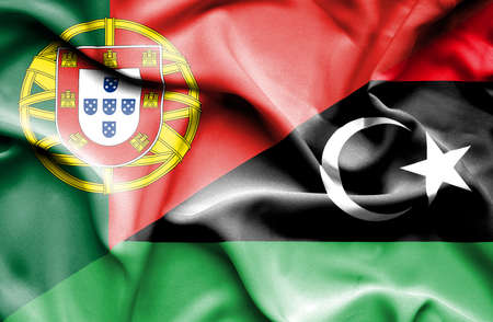 portugese: Waving flag of Libya and
