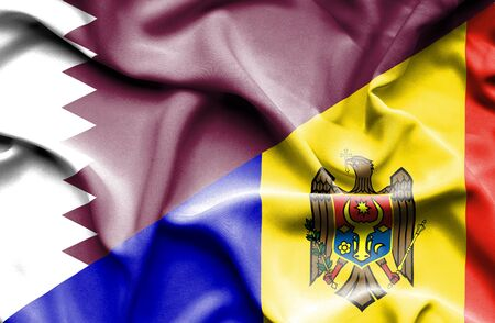 moldavia: Waving flag of Moldavia and Qatar Stock Photo