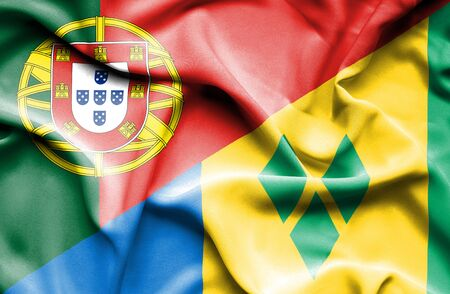 portugese: Waving flag of Saint Vincent and Grenadines and