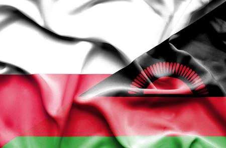 malawian flag: Waving flag of Malawi and Poland