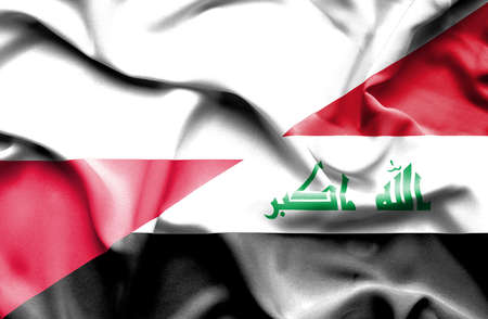 iraq conflict: Waving flag of Iraq and Poland