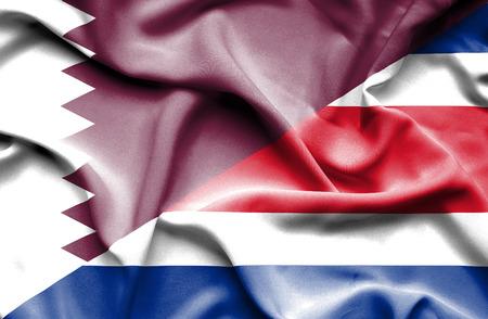 costa rica: Waving flag of Costa Rica and Qatar