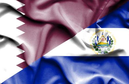 el salvador: Waving flag of El Salvador and Qatar Stock Photo