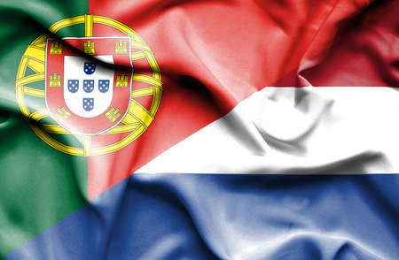 portugese: Waving flag of Netherlands and Stock Photo