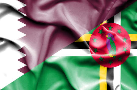 dominica: Waving flag of Dominica and Qatar