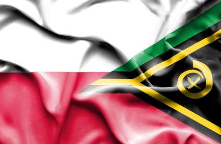 vanuatu: Waving flag of Vanuatu and Poland
