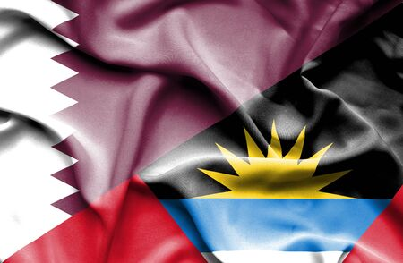 antigua: Waving flag of Antigua and Barbuda and Qatar