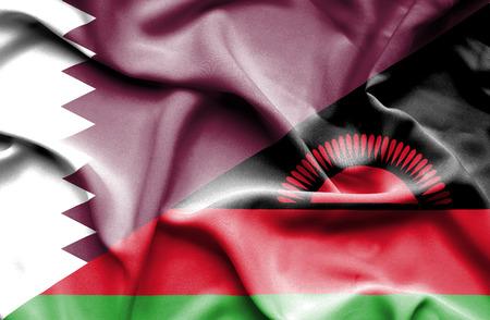malawian flag: Waving flag of Malawi and Qatar Stock Photo