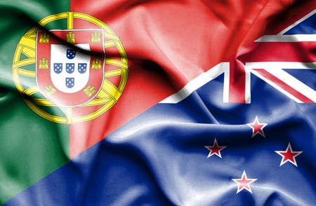 bandera de nueva zelanda: Waving flag of New Zealand and