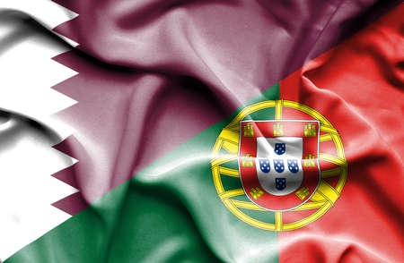 portugese: Waving flag of Portugal and Qatar