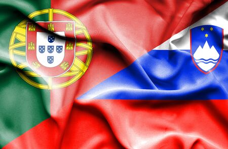 portugese: Waving flag of Slovenia and