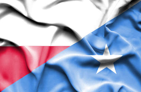 somalia: Waving flag of Somalia and Poland