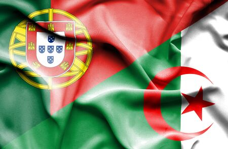 portugese: Waving flag of Algeria and Stock Photo