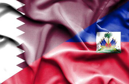 haiti: Waving flag of Haiti and Qatar