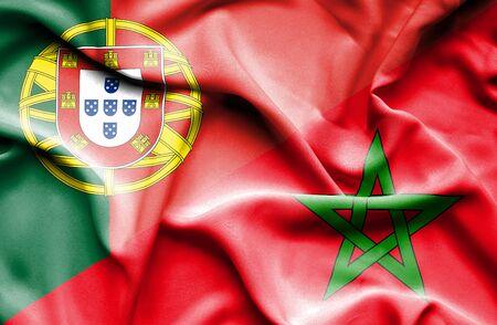 morocco: Waving flag of Morocco and