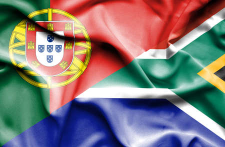 portugese: Waving flag of South Africa and