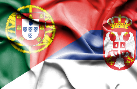serbia: Waving flag of Serbia and Stock Photo