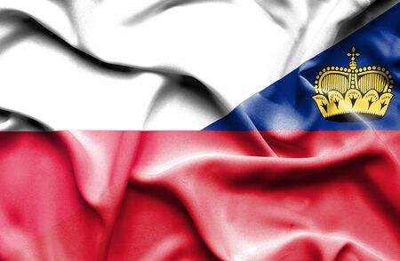 lichtenstein: Waving flag of Lichtenstein and Poland