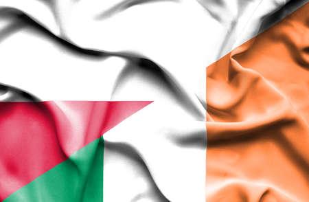 irish history: Waving flag of Ireland and Poland