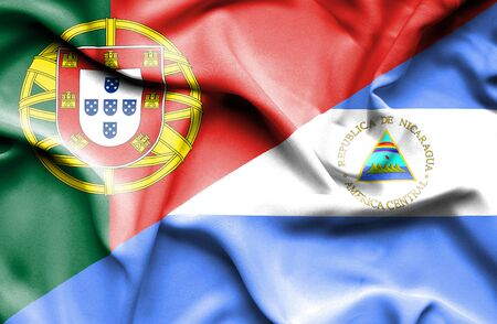 portugese: Waving flag of Nicaragua and