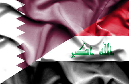 iraq war: Waving flag of Iraq and Qatar Stock Photo