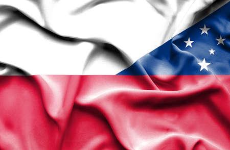 samoa: Waving flag of Samoa and Poland