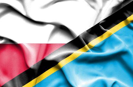 tanzania: Waving flag of Tanzania and Poland Stock Photo