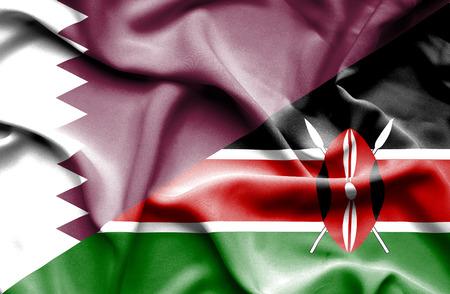 kenya: Waving flag of Kenya and Qatar Stock Photo