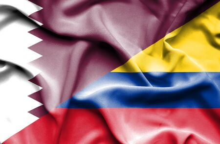 columbia: Waving flag of Columbia and Qatar Stock Photo